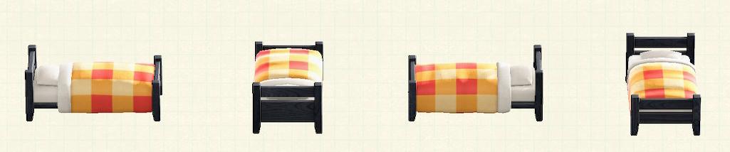 あつ森の木製シングルベッドのリメイクブラックパターン