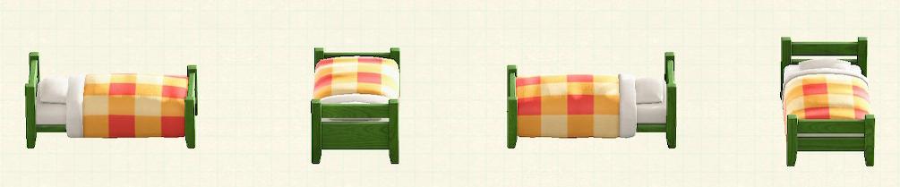 あつ森の木製シングルベッドのリメイクグリーンパターン