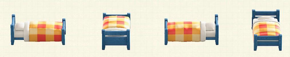 あつ森の木製シングルベッドのリメイクブルーパターン