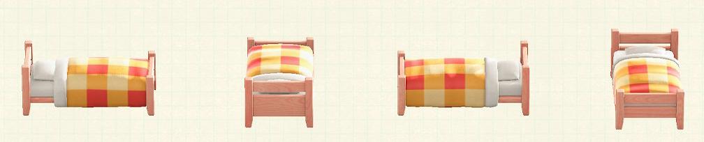 あつ森の木製シングルベッドのリメイクピンクウッドパターン