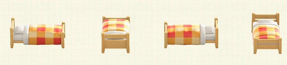 あつ森の木製シングルベッドのリメイクオレンジパターン