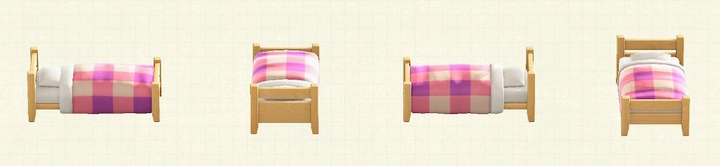 あつ森の木製シングルベッドのリメイクピンクパターン