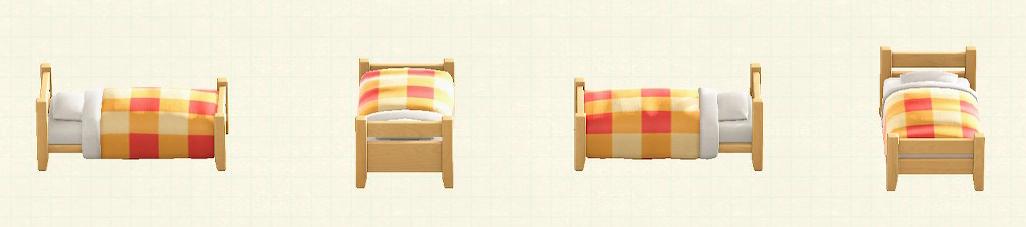 あつ森の木製シングルベッドのリメイクマイデザインパターン