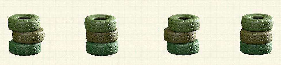 あつ森のつまれたタイヤのリメイクグリーンパターン