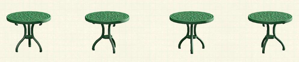 あつ森のアイアンガーデンテーブルのリメイクグリーンパターン