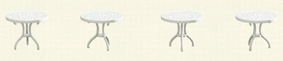 あつ森のアイアンガーデンテーブルのリメイクホワイトパターン