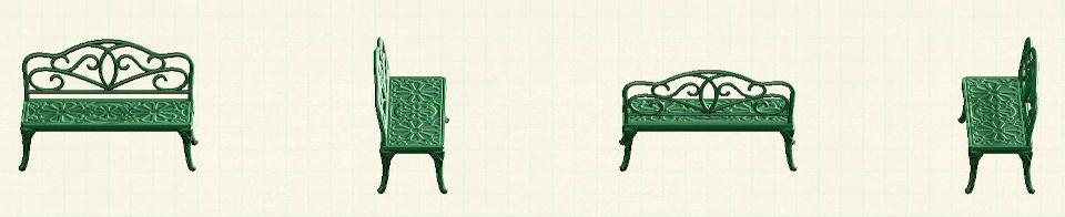 あつ森のアイアンガーデンベンチのリメイクグリーンパターン