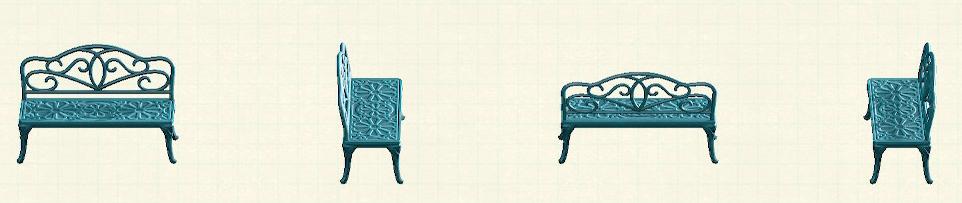 あつ森のアイアンガーデンベンチのリメイクブルーパターン