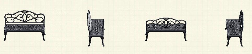 あつ森のアイアンガーデンベンチのリメイクブラックパターン