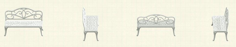 あつ森のアイアンガーデンベンチのリメイクホワイトパターン