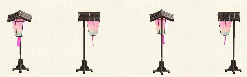 あつ森のお花見の提灯のリメイクダークウッドパターン