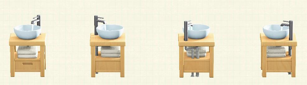 あつ森の素朴な洗面台のリメイクナチュラルパターン