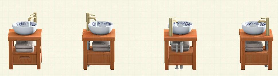 あつ森の素朴な洗面台のリメイクブラウンウッドパターン