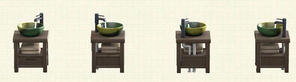 あつ森の素朴な洗面台のリメイクダークウッドパターン