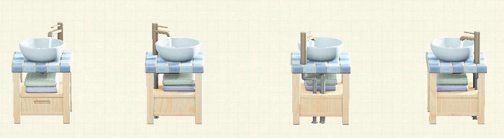 あつ森の素朴な洗面台のリメイクホワイトウッド&タイルパターン
