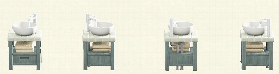 あつ森の素朴な洗面台のリメイクグレーウッド&タイルパターン