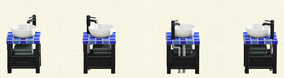 あつ森の素朴な洗面台のリメイクブラックウッド&タイルパターン