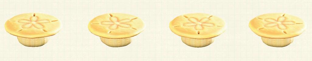 あつ森の貝殻のテーブルのリメイクイエローパターン