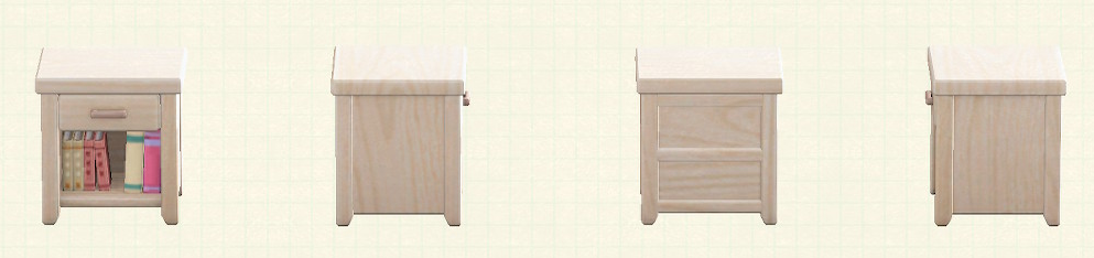 あつ森の木製サイドテーブルのリメイクホワイトウッドパターン