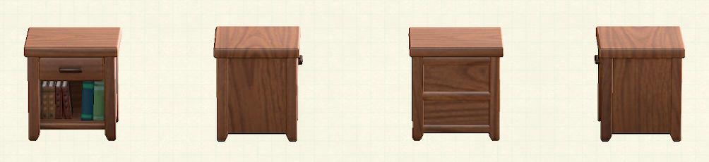 あつ森の木製サイドテーブルのリメイクダークウッドパターン