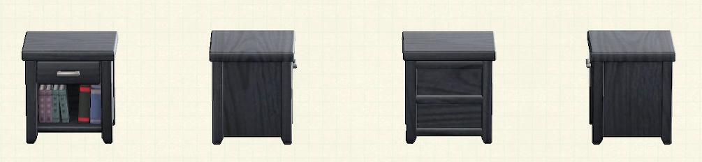 あつ森の木製サイドテーブルのリメイクブラックパターン