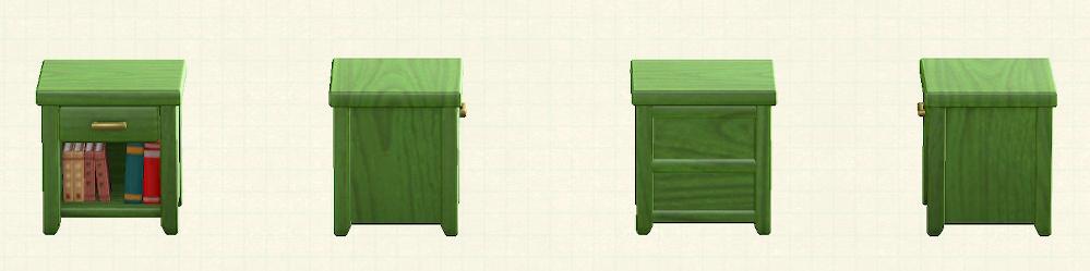 あつ森の木製サイドテーブルのリメイクグリーンパターン