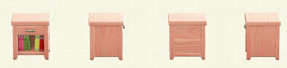 あつ森の木製サイドテーブルのリメイクピンクウッドパターン