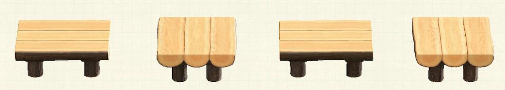 あつ森の丸太のダイニングテーブルのリメイクダークウッドパターン