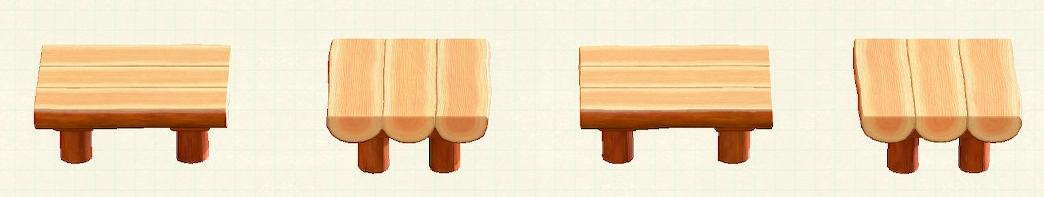 あつ森の丸太のダイニングテーブルのリメイクオレンジウッドパターン
