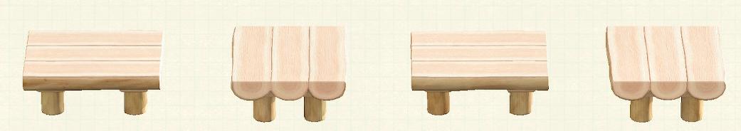 あつ森の丸太のダイニングテーブルのリメイクホワイトウッドパターン