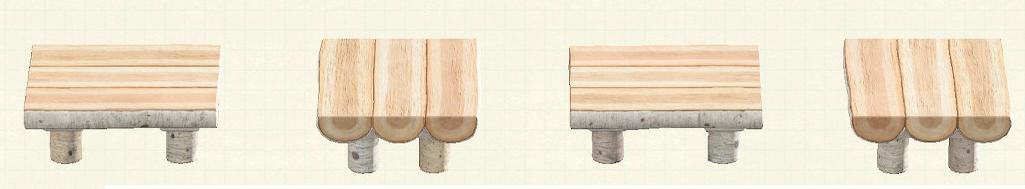 あつ森の丸太のダイニングテーブルのリメイク白樺パターン