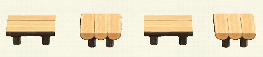 あつ森の丸太のダイニングテーブルのリメイクなしパターン