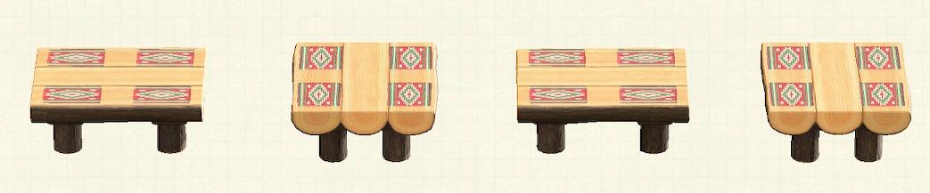あつ森の丸太のダイニングテーブルのリメイクキリムパターン