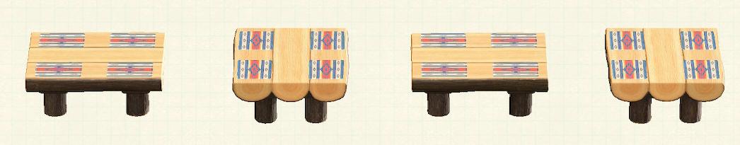 あつ森の丸太のダイニングテーブルのリメイクチマヨパターン