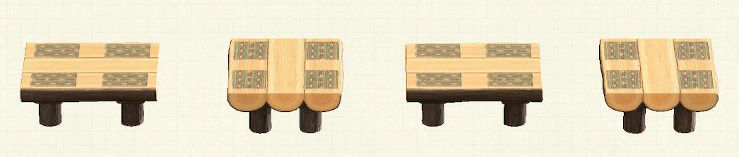 あつ森の丸太のダイニングテーブルのリメイククマパターン