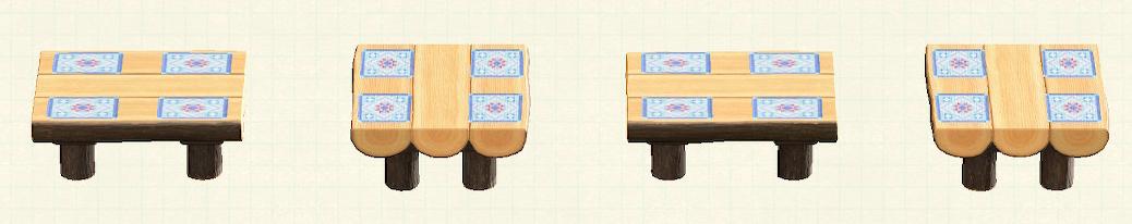 あつ森の丸太のダイニングテーブルのリメイクキルトパターン