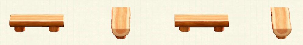 あつ森の丸太のベンチのリメイクオレンジウッドパターン