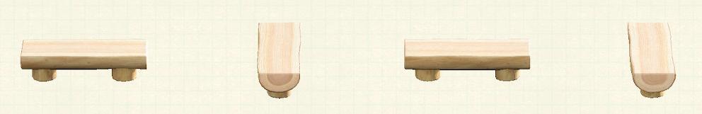 あつ森の丸太のベンチのリメイクホワイトウッドパターン