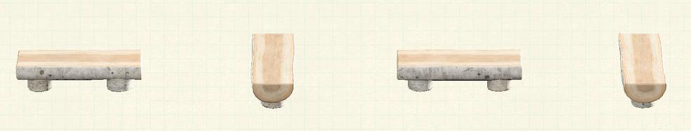 あつ森の丸太のベンチのリメイク白樺パターン