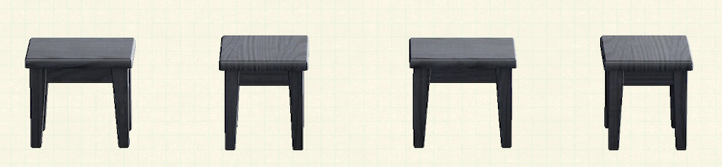 あつ森の木製ミニテーブルのリメイクブラックパターン