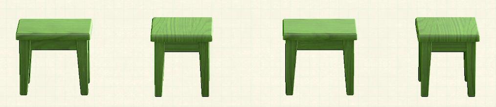 あつ森の木製ミニテーブルのリメイクグリーンパターン