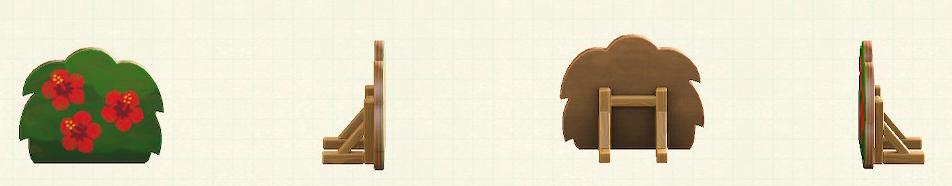 あつ森のハリボテの生垣のリメイクハイビスカスパターン