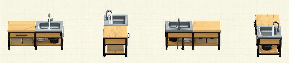 あつ森のアイアンウッドキッチンのリメイクバーチパターン
