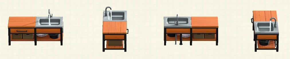 あつ森のアイアンウッドキッチンのリメイクチークパターン