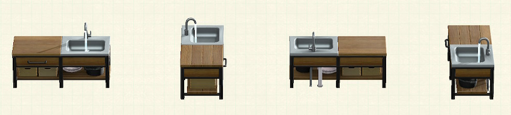 あつ森のアイアンウッドキッチンのリメイクウォルナットパターン