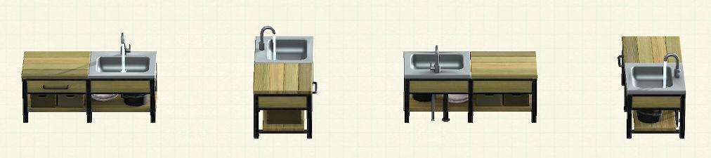 あつ森のアイアンウッドキッチンのリメイクオールドパターン