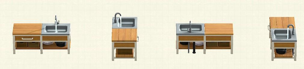 あつ森のアイアンウッドキッチンのリメイクオークパターン