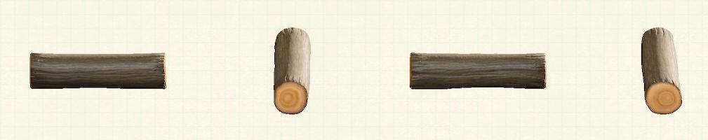 あつ森のワイルドな丸太のベンチのリメイクダークウッドパターン