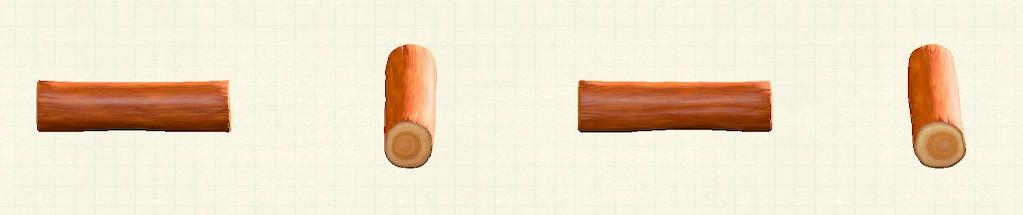 あつ森のワイルドな丸太のベンチのリメイクオレンジウッドパターン
