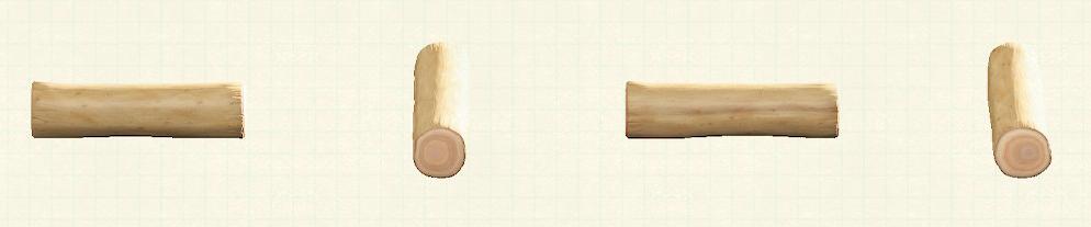 あつ森のワイルドな丸太のベンチのリメイクホワイトウッドパターン